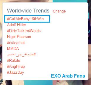 #CALLMEBABY16thwin ww trends